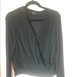 Dark forest green & other stories wrap top